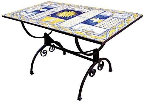 Mesa rectangular de hierro forjado y azulejos de cerámica ARTÍSTICA de Castelli decorada a mano – Mesa de centro, de jardín, de cocina – Código color TC-07 Colección Color Arte de muebles –