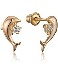 14k Yellow Gold Baby Dolphin Stud Cubic Zirconia Children Screwback Baby Girls Stud Earrings