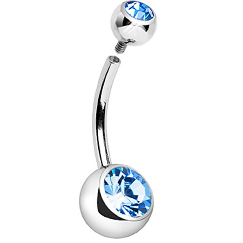 PiercedOff Basic Internally Threaded Double Aqua Gem Navel Ring 14G (1.6mm x 11mm) (Double Gem Aqua)