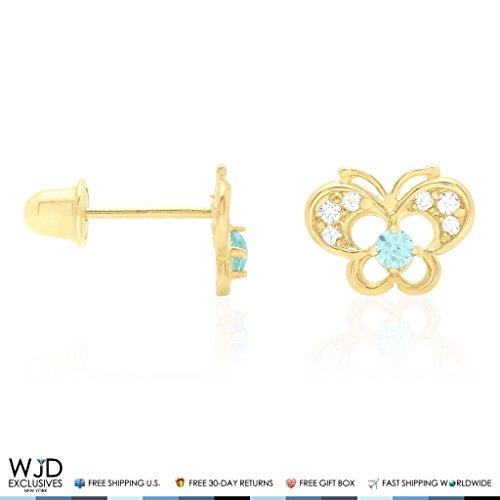 14k Yellow Gold Pave Birthstone CZ Butterfly Screw Back Stud Kid Earrings, Aquamarine