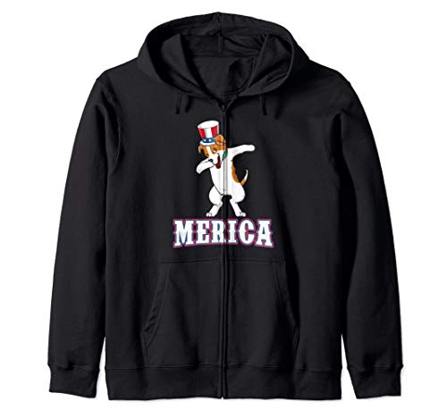 Dabbing Jack Russell Terrier Dog Dab Merica 4th th of July Zip Hoodie