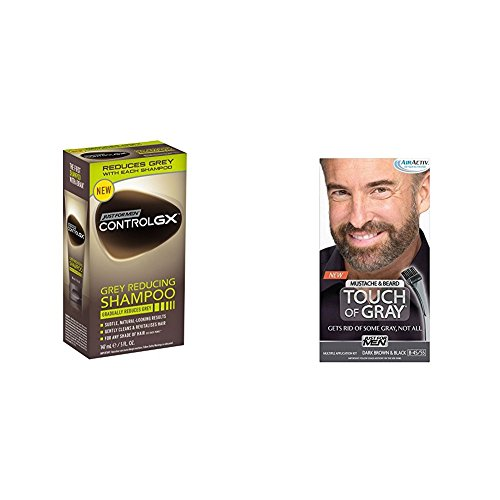 Just for Men Control GX Grey Reducing Shampoo, 5 fl oz & Just for Men Touch of Gray Mustache and Beard Color, Dark Brown & Black