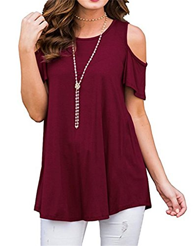 NELIUYA Women's Short Sleeve Casual Cold Shoulder Wide Hem Tunic Tops Loose Blouse Shirts (XL Wine Red)