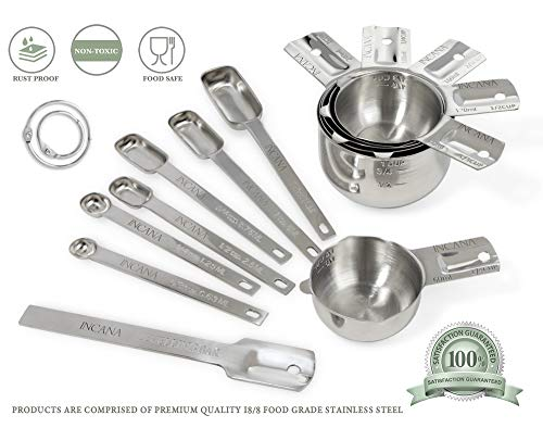 Stainless Steel Measuring Cups and Spoons Set with Pouring Spout on Both Sides, Level and Conversion Chart - Elegant Gift Set, 14-Piece Baking Kit with Measure Cups, Tablespoons and Teaspoons - Metal