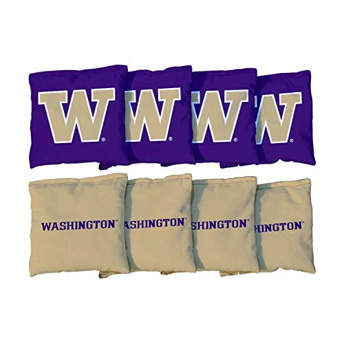 (Victory Tailgate NCAA Collegiate Regulation Cornhole Game Bag Set (8 Bags Included, Corn-Filled) - Washington Huskies )