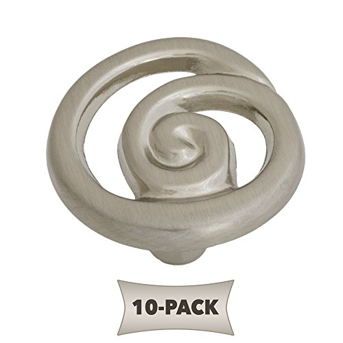 10 Pack Ornate Single Swirl Kitchen Cabinet Hardware Knob 1 1/4 Inch, Satin Nickel