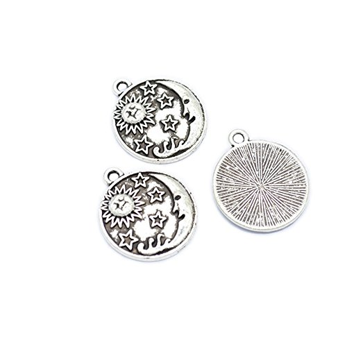 30pcs Alloy Round Disc Floating Charms Celestial Body Planet Sun, Moon and Star Pendants Necklace&Bracelet Jewelry Making DIY 23X20mm (30pcs Sun,Star,Moon)