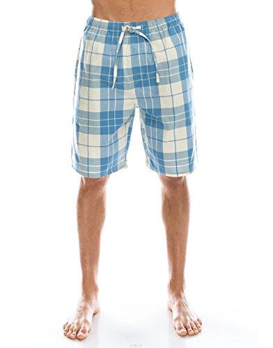 TINFL Men's Plaid Cotton Sleep Lounge Shorts Pajama Pants MSP-15-Sky XL