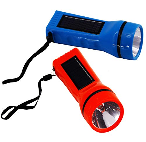 Solar Led Flashlight (2 Pack). Use Any Light Source to Charge with Its Built-in Solar Panel. Handheld Flashlight Solar Powered LED Torchlight for Camping, Outdoor Sports, Auto Emergency Kit