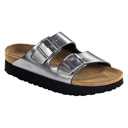 172724f2d2956 Birkenstock Women s Papillio Arizona Platform Sandal Metallic Silver  Leather Size 36 ...
