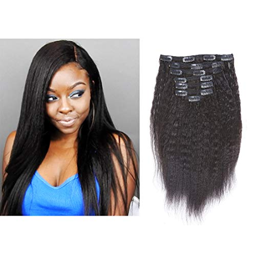 """Beauty : LacerHair 10"""" 7 Pcs 120G Kinky Straight Remy Clip in Human Hair Extensions Clip in Human Hair Black Color Virgin Hair Clip in Hair Extensions For Black Women Natural Hair (10 inch, Kinky Straight)"""