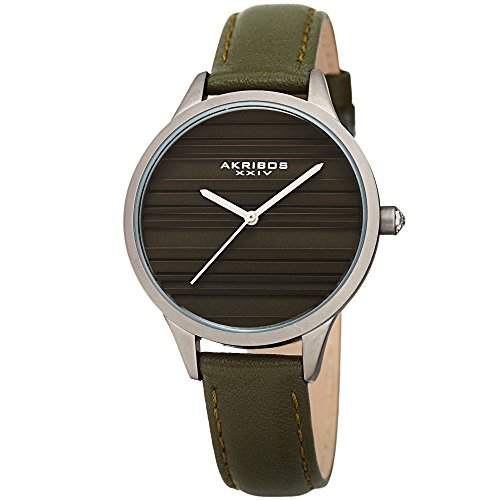Akribos XXIV Women's Quartz Striated Silver-Tone & Green Leather Strap Watch - AK1005GN