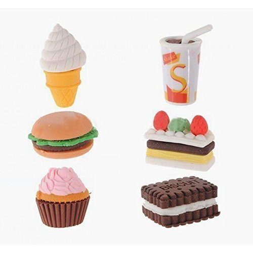Assorted Food Novelty Cute Pencil Rubber Eraser Stationery School Office Supplies Ice Cream Cake Eraser Kid Fun Toy Naisidier