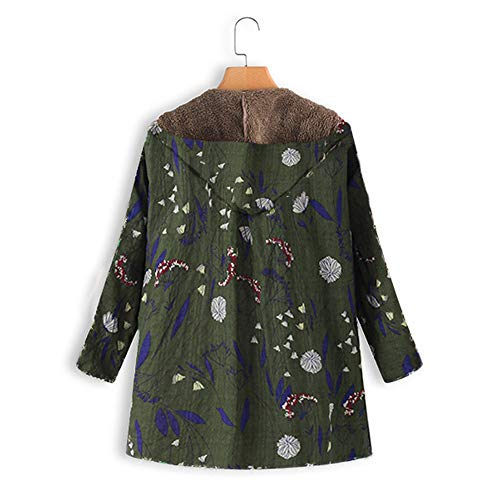 Army Vintage Trench Hooded Plus Pockets Warm Print Floral Thicker Green Oversize Size Coats Womens Winter Overcoat Outwear Classic vpass Zipper qcCw5UFxW4