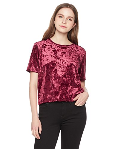 Something for Everyone A Knit Top featuring Crushed Velvet Fabrication In Short Sleeves With a Relaxed Fit, Port Royale, Medium