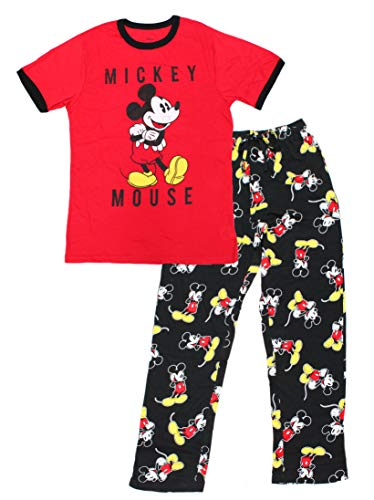 Disney Men's Classic Mickey Mouse Pajama Tee and Lounge Pant Set (Red-Allover, Small)]()
