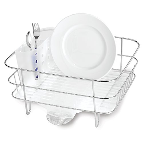 simplehuman Kitchen Compact Wire Frame Dish Rack With Removable Spout, Stainless Steel