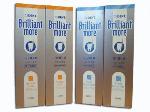 Lion Brilliant More Toothpaste 4 Tubes (Fresh Spearmint 2 tubes, Apricot Mint 2 Tubes)