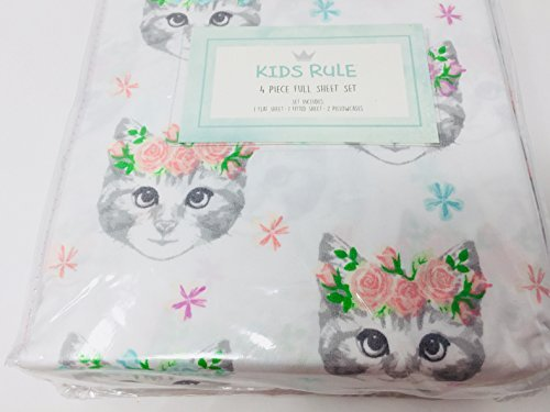 Kids rule Cats Kittens with Roses FULL 4-PC Sheet Set