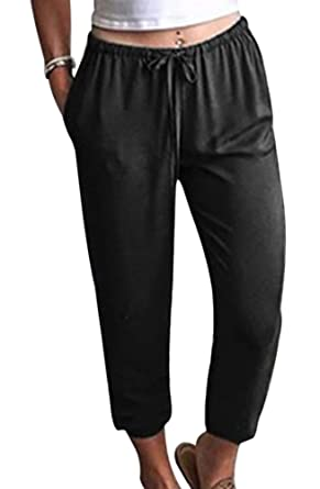 Vertvie Damen Hosen High Waist Stretch Skinny Pants Casual Pluderhosen  Fitnesshose Freizeithose mit Tunnelzug (EU dbfe0c67a0