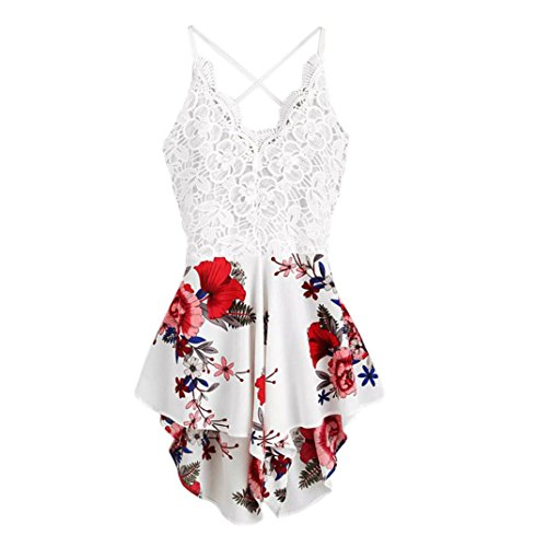Backless Party Dresses,Gillberry Women's Halter Neck Spaghetti Straps Summer Dress Sleeveless Sexy Mini Dress (White C, Bust:36.2-39.4/XL)