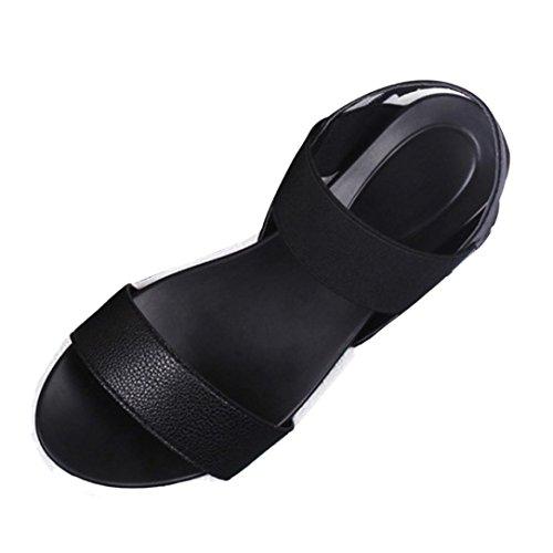 Zapatos 2017 Chica Negro Sandalias SMARTLADY Mujer de Verano Sandalias RAzqTT