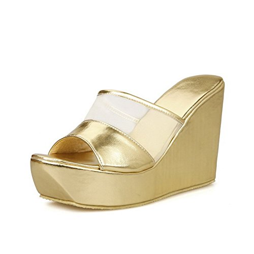 BalaMasa Girls Solid Peep-Toe Soft Material Slippers Gold bWgOe