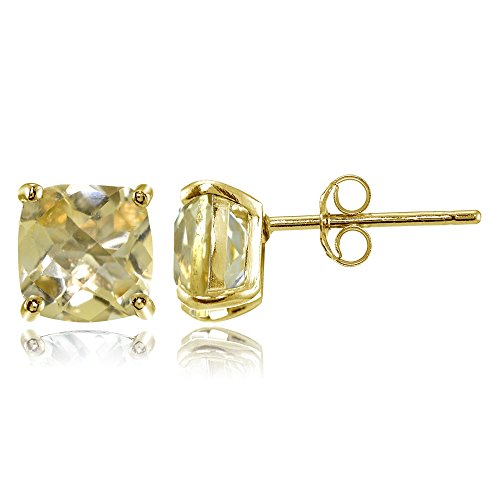 (Yellow Gold Flashed Sterling Silver 7mm Cushion-Cut Citrine Stud Earrings )