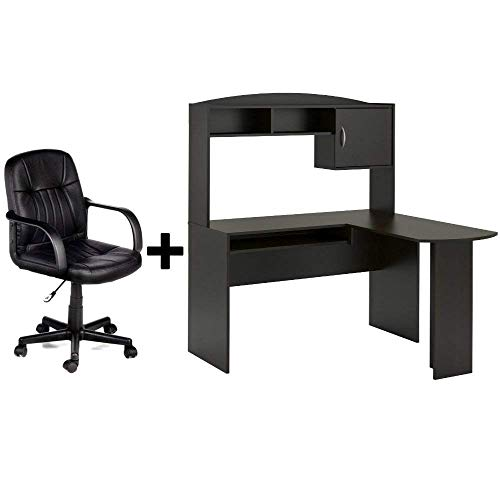 Corner L Shaped Wood Office Desk with Hutch in Espresso + Leather Mid-Back Chair in Black - Bundle ()