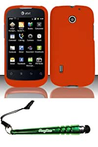 FoxyCase(TM) FREE stylus AND For Huawei Fusion U8652 (AT&T) Rubberized Case Cover Protector - Orange Desire Safe Phone cas couverture