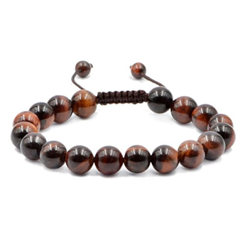 AD Beads Natural 10mm Gemstone Bracelets Healing Power Crystal Macrame Adjustable 7-9 Inch (Red Tiger's Eye) (Eye Red Tiger)