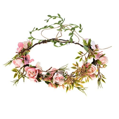 DreamLily Bohemian Halo Wedding Crown Maternity Flower Headpiece Birthday Photo PropsXM03 ()