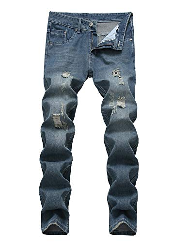 Versaces Hombres Algodón Jeans Cintura Media Agujero Heterosexual Corte Ajustado Ocio Pantalones blue