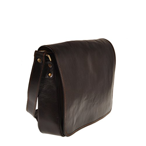 de oscuro marron Pellevera italiano marron mensajero oscuro crossbody bolsa Bolso de Ravenna cuero qT7BTEx