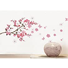 BIBITIME Cherry Blooms Tree Wall Decor Decal Stickers Japanese Sakura Wall Decors Flower Decals Living Dinning Room Bedroom Kitchen Art Picture Murals,DIY Size: 17.72 * 27.56 IN
