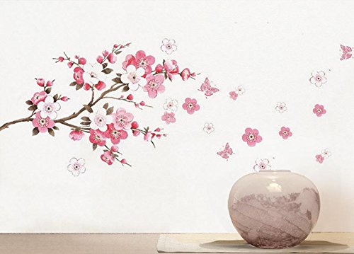 BIBITIME Cherry Blooms Tree Wall Decor Decal Stickers Japanese Sakura Wall Decors Flower Decals Living Dinning Room Bedroom Kitchen Art Picture Murals,DIY Size: 17.72 27.56 IN - Bloom Floral Wallpaper