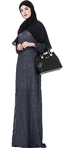 38 Kleid 54 Abaya Größe Spitze Ababalaya EU Übergröße Länge Kleidung Muslimische Schwarz Damen Elegante Langarm Islamische Teilt volle pzzqZPWSA