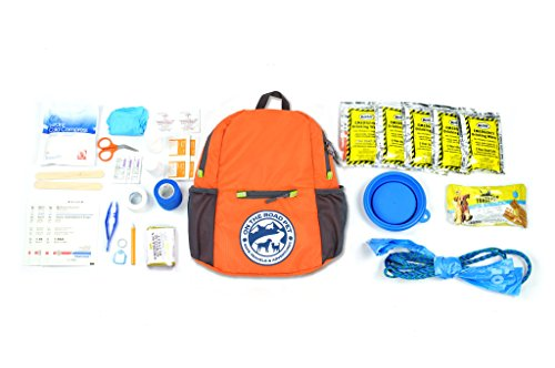 ON The Road PET - PET Safe Travel, Adventure, and, Emergency Survival KIT - DAYHIKER - Backpack Contains Food, Water, First aid & Supplies to Sustain a Large Dog for - Pet Survival Kit