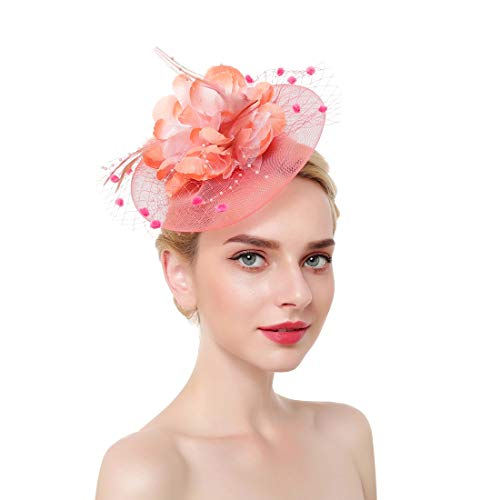 ACTLATI Pink Fascinator Hat for Women Flower Feather Mesh Net with Clip Headband for Tea Party Derby Wedding ()