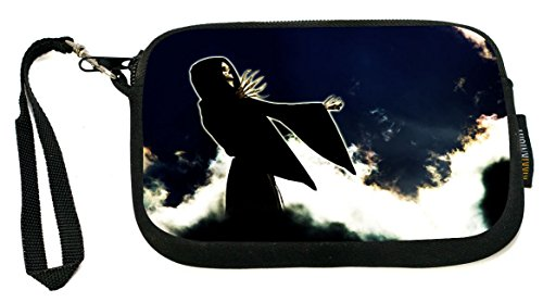 Rikki Knight Grim Reaper on Black Sky - Neoprene Clutch Wristlet Coin Purse with Safety Closure - Ideal case for Cosmetics Case, Camera Case, Cell Phones, Passport, etc.. - Grim Reaper Makeup