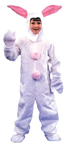 [UHC White Furry Bunny Plush Jumpsuit Kids Fancy Dress Halloween Costume, Child (6-8)] (Two Faced Halloween Costumes)