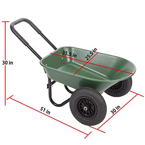 BestMassage Flat Free Yard Garden Rover Wheelbarrow,2 Tire Wheelbarrow Garden Cart by BestMassage (Image #2)