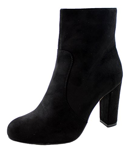 New Womens Ladies Autumn Suede Ankle Boots Block High Heel Side Zip Shoes Black