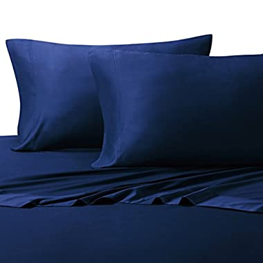 California King Royal-Blue Ultra Soft bed sheets 100% Rayon from Bamboo Sheet Set