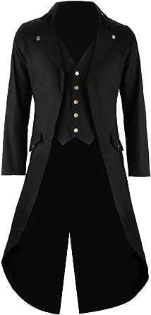 Mens Black Vintage Tailcoat Jacket Fancy Cool Cosplay Costume Robe