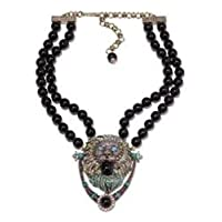 Heidi Daus Beaded Crystal Lion Doorknocker Drop Necklace ~ Someone