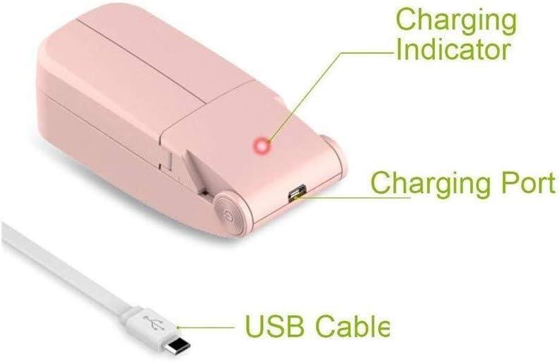 Portable Mini Desk Fan Folding Pocket Fan USB Rechargeable for Home Office Outdoor Travelling,Pink Desk Fans KONGZIR  USB Fans ,Personal Handheld Dual Fan
