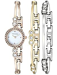 Women's AK/1690TRST Swarovski Crystal-Accented Rose Gold-Tone Bangle Watch and Bracelet Set