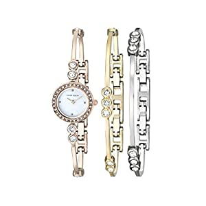 Anne Klein Women's AK/1690TRST Swarovski Crystal-Accented Rose Gold-Tone Bangle Watch and Bracelet Set