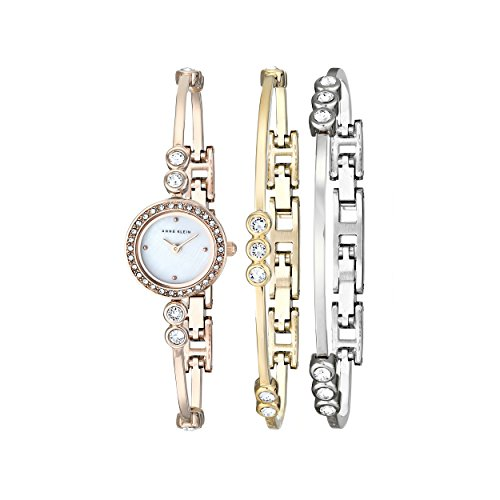 Anne Klein Womens AK1690TRST Swarovski Crystal-Accented Rose Gold-Tone Bangle Watch and Bracelet Set